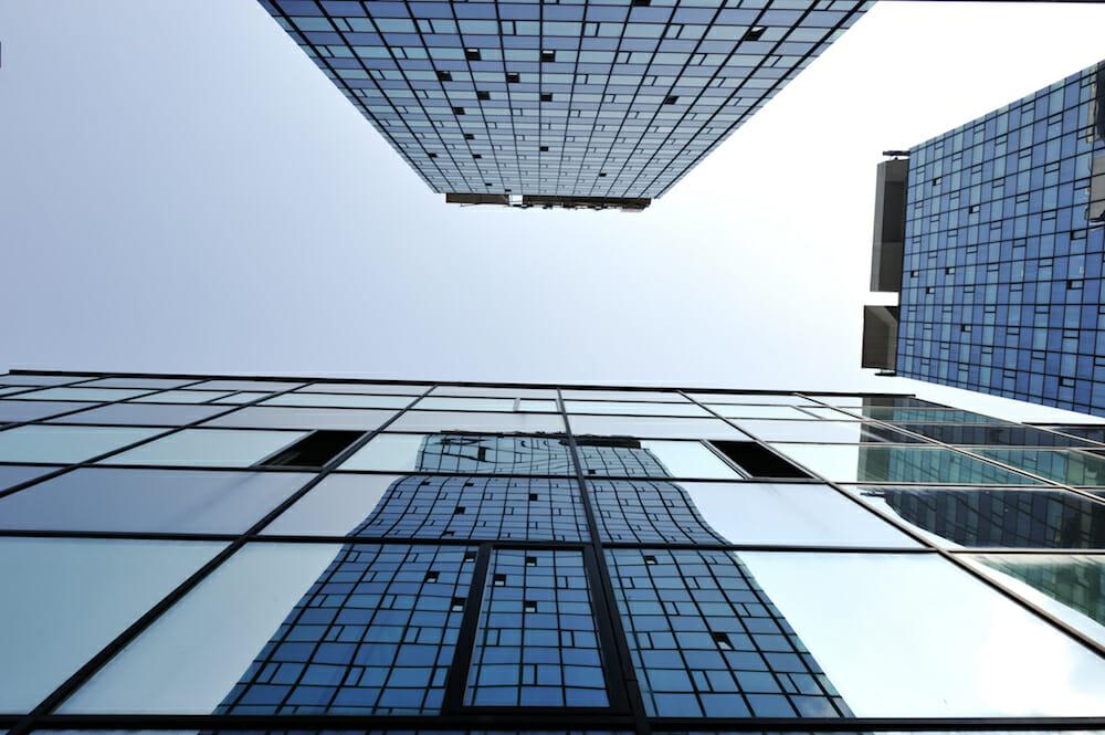Modern glass buildings